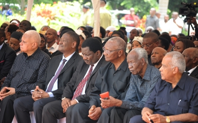 Mourners follow proceedings at the solemn occasion. Front row (from-R): Former Prime Minister Dr Salim Ahmed Salim, Former Prime Minister Joseph Warioba, former National Assembly Speaker Pius Msekwa, High Court of Tanzania Principal Judge Ferdinand Wambali, Chief Justice Prof Ibrahim Juma and retired Chief Justice Mohamed Chande Othman. Photo: John Badi