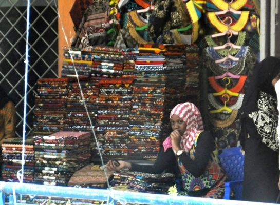 A small trader waits for customers for her clothes at Mnazi Mmoja in Dar es Salaam yesterday. Photo: John Badi