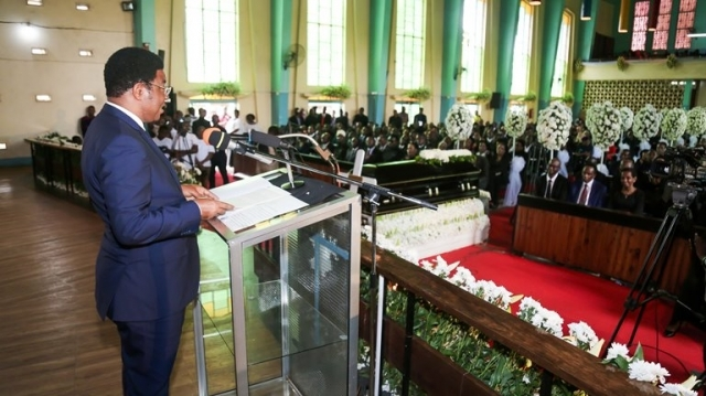Prime Minister Kassim Majaliwa addresses the gathering during the requiem mass.