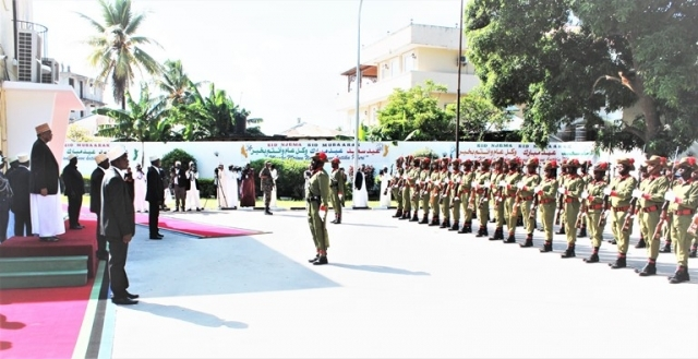 Zanzibar President Dr Shein acknowledges Tanzania Police Field Force Unit guard of honour salute at Eid el Fitr Council event in Zanzibar yesterday. Photo: Zanzibar State House
