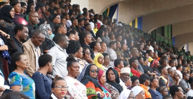 A cross-section of the thousands upon thousands of Dar es Salaam residents who streamed into Uhuru Stadium yesterday to pay their last respects to the former president. Photo: Guardian Correspondent