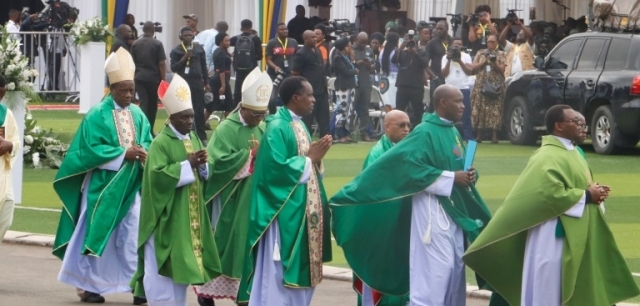 Catholic Church bishops head for the altar for the service.  Photo: Anthony Siyame